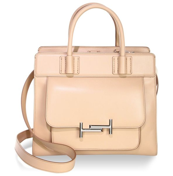 Tod's double t leather satchel in pale pink - Leather satchel with metallic detail in front. Double...
