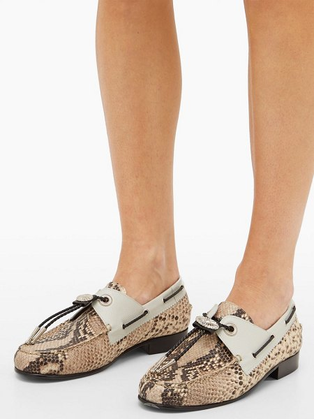 Toga python-effect leather loafers in python