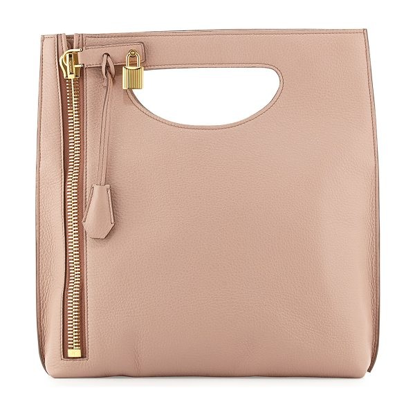Tom Ford Alix fold-over crossbody bag in blush nude - Tom Ford grained calfskin crossbody. Cutout top handle....