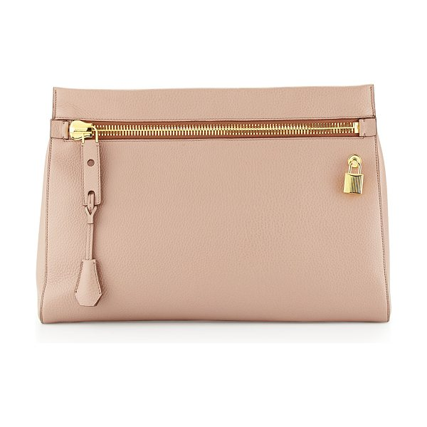 Tom Ford Alix Small Zip & Padlock Clutch Bag in nude - Calf leather with signature Tom Ford yellow golden...