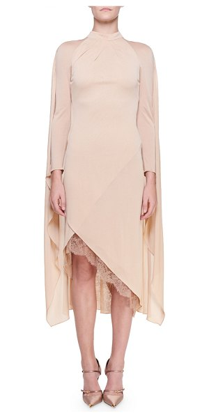 Tom Ford Cape-Back Cocktail Dress with Chantilly Lace Trim in nude
