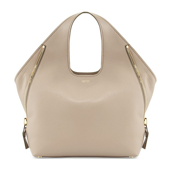 Tom Ford Jennifer Side-Zip Leather Hobo Bag in taupe - Calf leather with signature Tom Ford yellow golden...