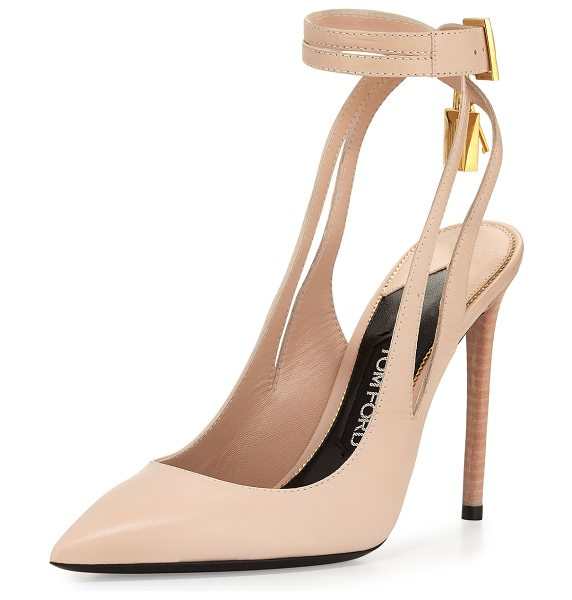 "Tom Ford Leather Ankle-Lock 105mm Pump in nude - TOM FORD shiny calf leather pump. 4.3"" stacked heel...."