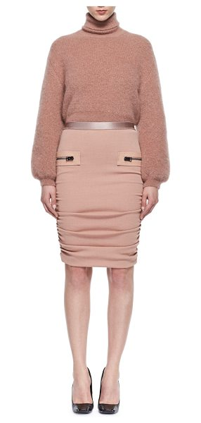 Tom Ford Leather-Trim Shirred Pencil Skirt in light pink - TOM FORD shirred pencil skirt with leather trim....
