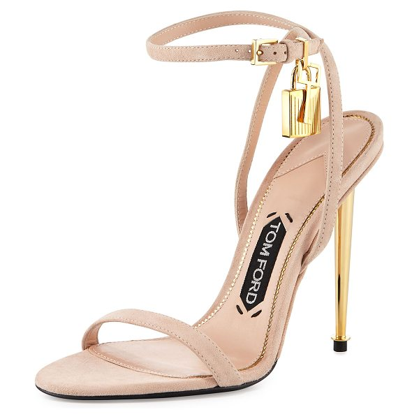 Tom Ford Lock ankle-wrap suede 110mm sandal in nude