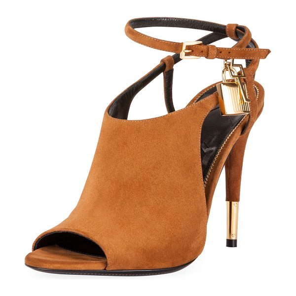 """TOM FORD Lock Suede Open-Toe Ankle-Wrap Bootie - TOM FORD suede bootie. 4.1"""" covered heel with golden..."""