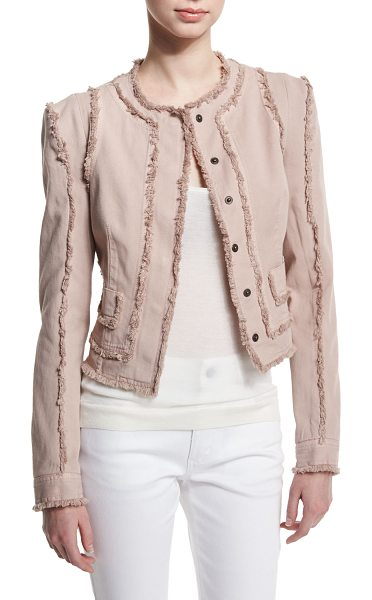 Tom Ford Long-Sleeve Jacket W/Fringe-Seams in nude light pink - Tom Ford stretch-cotton jacket with fringe seams. Jewel...