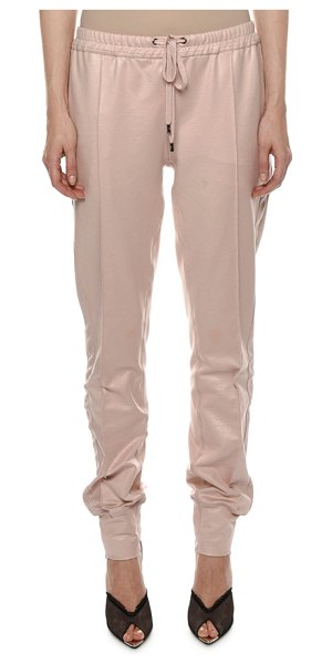 Tom Ford Mid-Rise Glossy Jogger Pants in sand