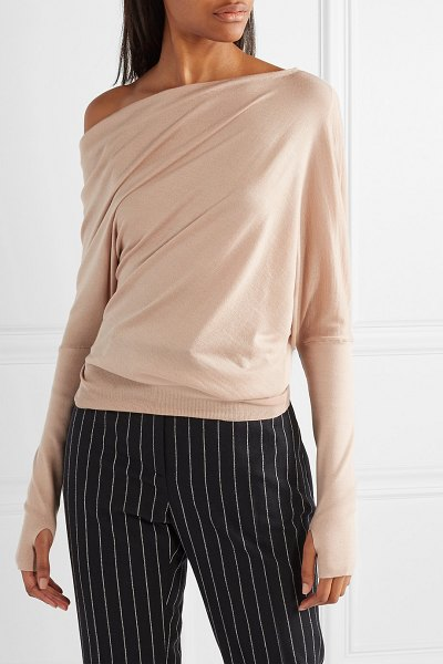Tom Ford one-shoulder cashmere and silk-blend sweater in beige - TOM FORD's sweater has a one-shoulder neckline that's so...