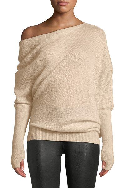 Tom Ford One-Shoulder Long-Sleeve Mohair-Silk Sweater w/ Thumbholes in pink - Tom Ford semisheer sweater in mohair-silk. One-shoulder...