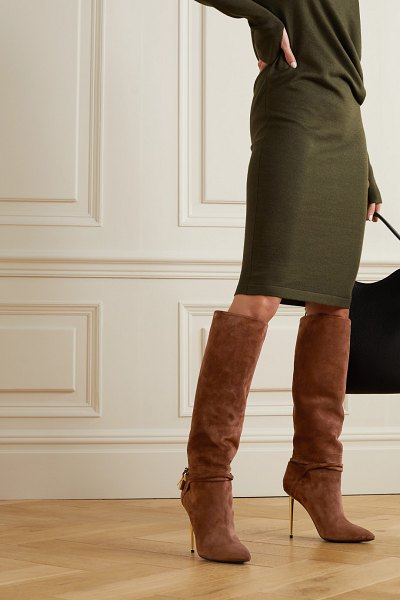 Tom Ford padlock embellished suede knee boots in tan