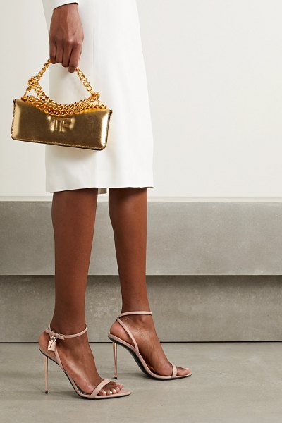 Tom Ford padlock leather sandals in sand
