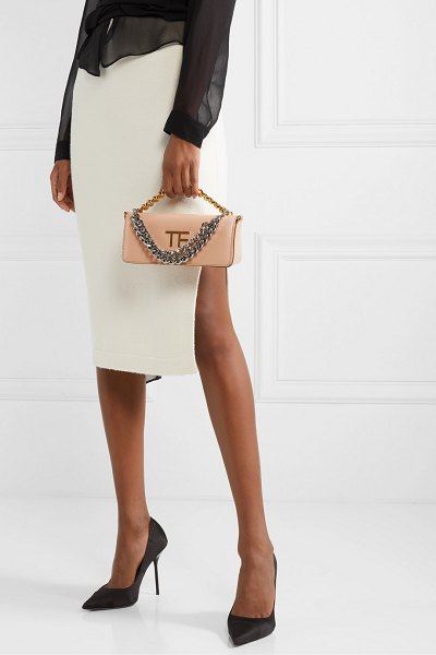 Tom Ford triple chain small embellished leather shoulder bag in beige