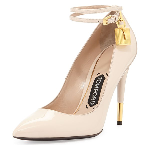 Tom Ford Patent 105mm Ankle-Lock Pump in nude - TOM FORD patent leather pump with signature golden...