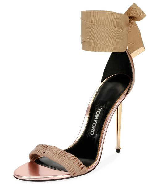 "Tom Ford Patent Ankle-Tie 105mm Sandal in flesh - TOM FORD satin sandal. 4.1"" golden metal stiletto heel...."