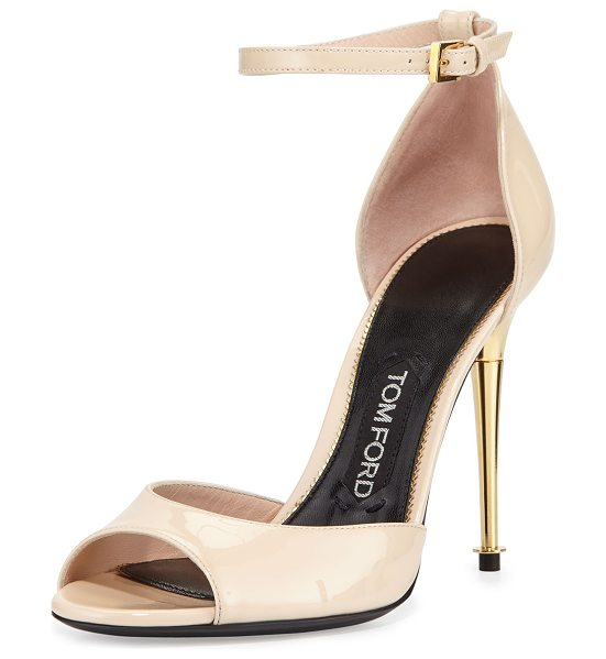 Tom Ford Patent leather dorsay sandal in nude - TOM FORD patent leather sandal. Signature yellow-golden...