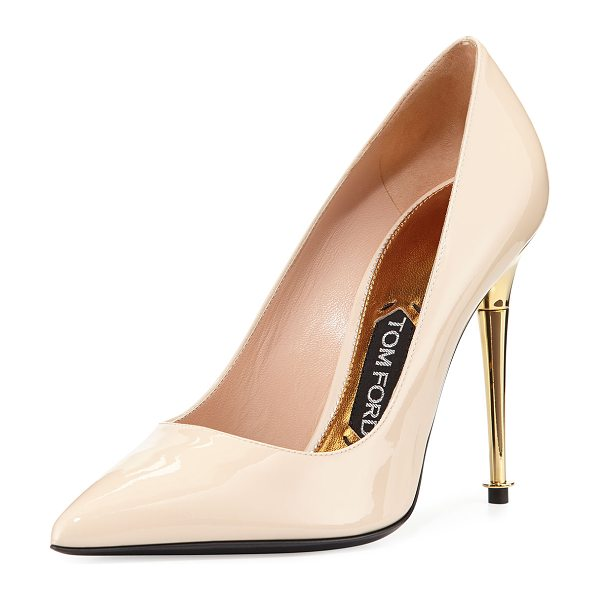 "TOM FORD Patent leather pin-heel pump - Tom Ford patent leather pump. 4"" metallic golden pin..."