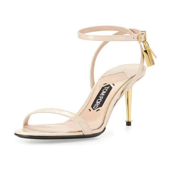 Tom Ford Patent Low-Heel Ankle Lock Sandal in nude - Patent leather sandal with signature Tom Ford yellow...