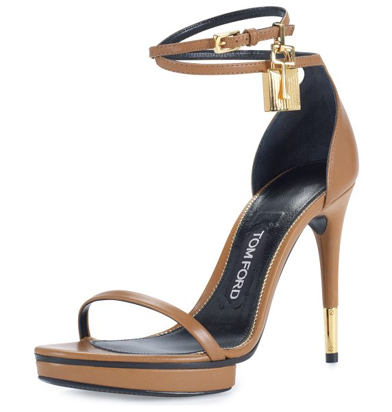 Tom Ford Platform Ankle-Lock 105mm Sandal in brown
