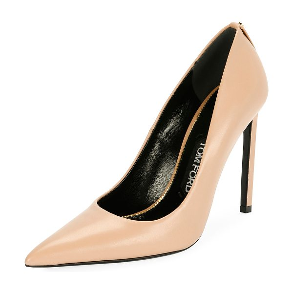 "Tom Ford Pointed-Toe 105mm Leather Pump in flesh - TOM FORD pump in soft calf leather. 4.1"" covered..."