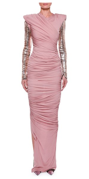 Tom Ford Ruched Bodice Gown with Beaded Sleeves in pink