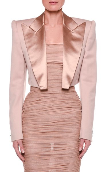 Tom Ford Satin-Lapel Cropped Jacket in beige - TOM FORD cropped jacket with satin trim. Peaked lapel;...