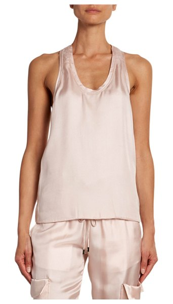 Tom Ford Satin Tank with Cashmere Racerback in light pink