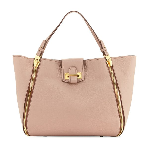Tom Ford Sedgewick Medium Leather Zip-Trim Tote Bag in blush