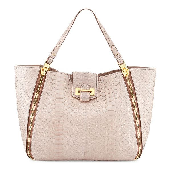 Tom Ford Sedgwick medium python zip tote bag in nude - Nude python with signature Tom Ford yellow golden...
