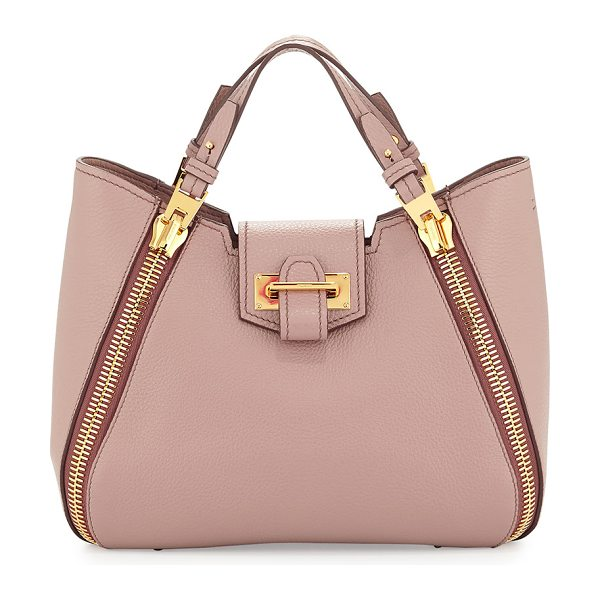 """Tom Ford Sedgwick Mini Double-Zip Leather Tote Bag in blush nude - Tom Ford """"Sedgwick"""" pebbled leather tote bag. Flat tote..."""