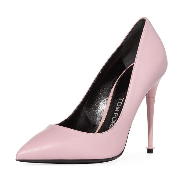 "Tom Ford Soft Leather Point-Toe 105mm Pump in pink - TOM FORD soft calf leather pump. 4.1"" lacquered heel...."