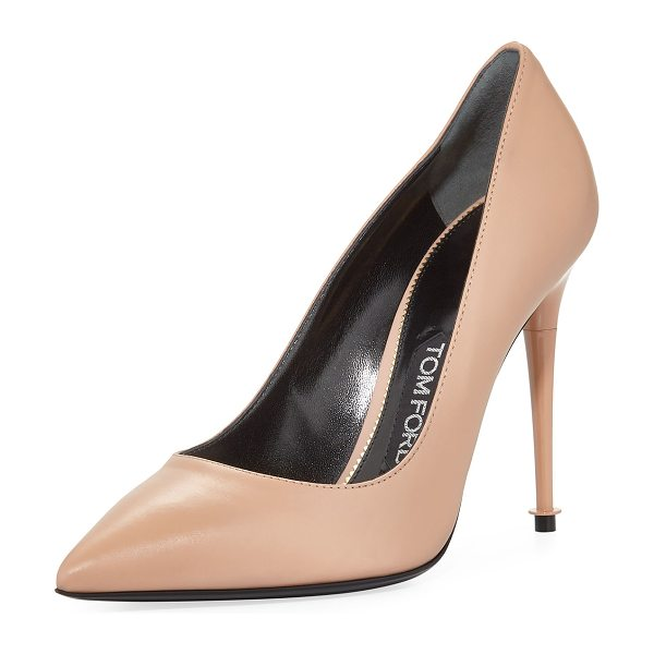 "Tom Ford Soft Leather Point-Toe 105mm Pump in beige - TOM FORD soft calf leather pump. 4.1"" lacquered heel...."