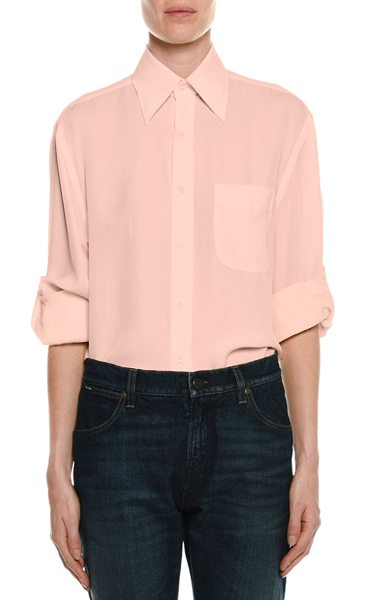 TOM FORD Stretch-Charmeuse Button-Down Blouse - Tom Ford blouse in stretch-charmeuse. Spread collar;...