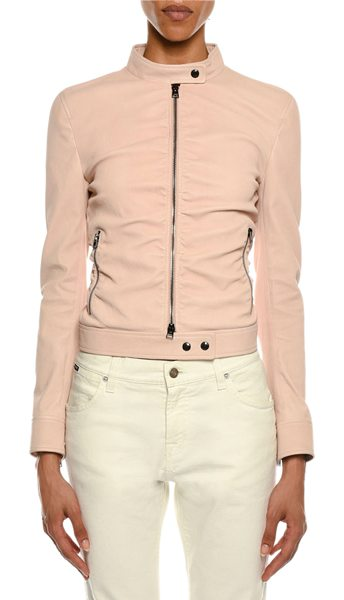 Tom Ford Zip-Front Ruched Napa Leather Biker Jacket in pink - Tom Ford ruched biker jacket in napa lamb leather. Stand...