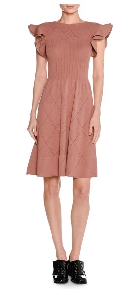 Tomas Maier Flutter-Sleeve Pointelle Knit Dress in dark pink - Tomas Maier dress in pointelle knit with diamond...