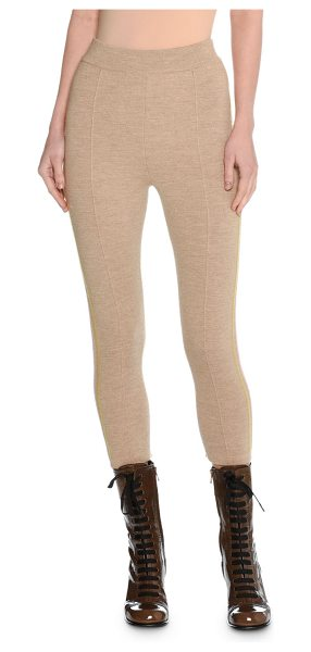 Tomas Maier Trompe l'Oeil Felted Wool Cropped Track Pants in beige - Tomas Maier track pants in felted wool. Multicolor...