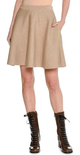 Tomas Maier Trompe l'Oeil Felted Wool Miniskirt in beige - Tomas Maier miniskirt in felted wool with multicolor...