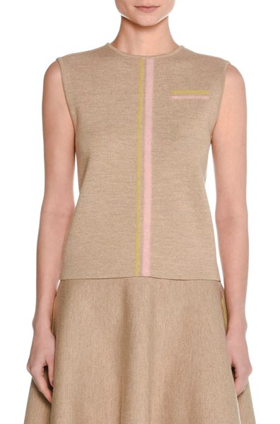 Tomas Maier Trompe l'Oeil Felted Wool Shell Top in beige - Tomas Maier shell top in felted wool with multicolor...