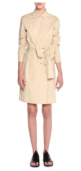 Tomas Maier Wrap-Front Belted Shirtdress in beige - Tomas Maier sporty-poplin shirtdress. Spread collar;...