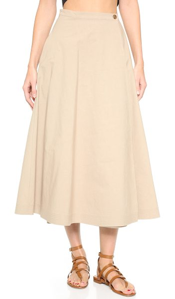 TOME Combed cotton a line skirt in beige - A Tome wrap skirt in a sophisticated midi length. On...
