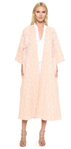 TOME Fan jacquard a-line coat in pink - An intricate fan pattern brings luxe detail to this...