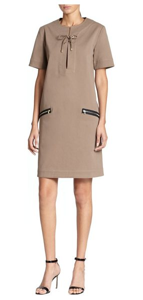 TOME Lace-up twill shift in khaki - A lace-up neckline and luminous goldtone zipper pockets...