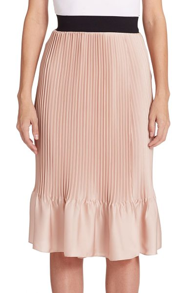 TOME Pleated satin skirt in pink - Sharp accordion pleats shape this satin midi silhouette,...