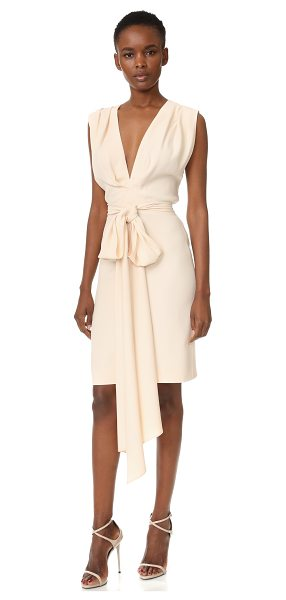 TOME short deep v dress with belt in pale pink - An optional sash forms a bow on this Tome dress. Ruching...