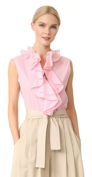 TOME sleeveless ruffle collar shirt in pink - Cascading ruffles bring playful, feminine style to this...
