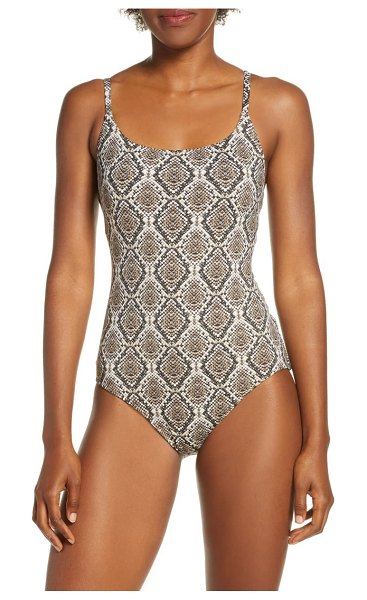 Tommy Bahama desert python one-piece swimsuit in brown