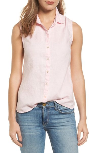 Tommy Bahama sea glass breezer linen shirt in light rose - A relaxed, sleeveless cut defines the perfect summer...