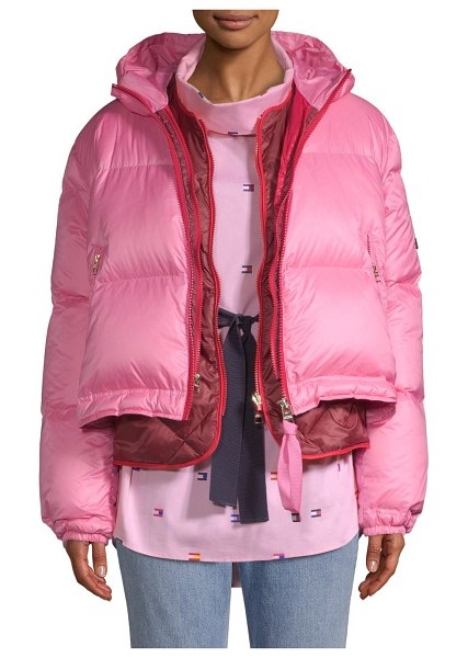 Tommy Hilfiger Collection multicolor double down puffer coat in azalea pink