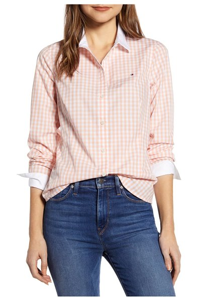 Tommy Hilfiger contrast detail gingham cotton poplin shirt in pink