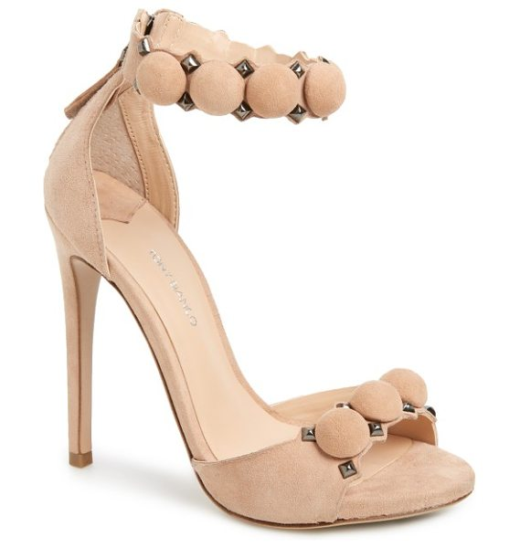 Tony Bianco ader sandal in powder suede - Polished pyramid studs and suede-wrapped hardware add...